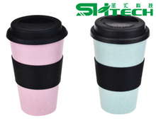 400ml High Quality Wheat Straw Reusable Coffee Cup Fiber Mug with Silicone Lid