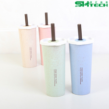 Hot Sale Reusable Straw Material Wheat Cup With Straw Coffee Mug With Straw